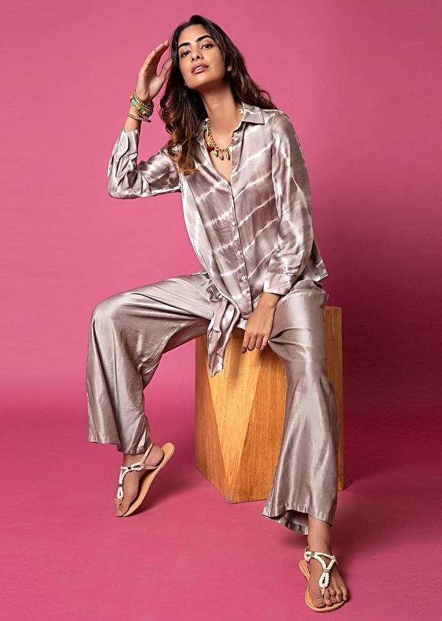 Cool Grey Asymmetric Shirt And Pants With Resist Hand Dyed Lehariya And Shell Buttons Online - Kalki Fashion