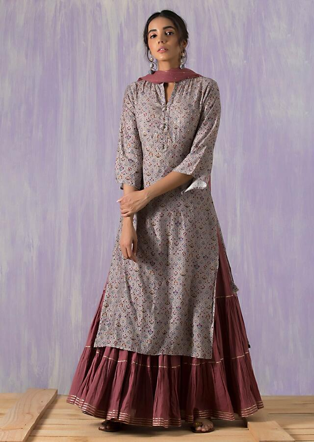 Cool Grey Suit matched with skirt in butti print and gotta lace work Online - Kalki Fashion
