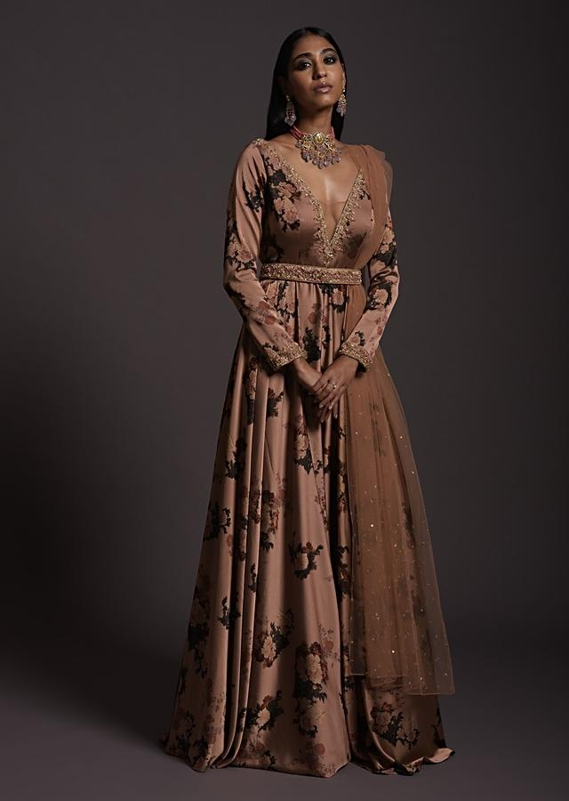 Copper Peach Anarkali Suit In Milano With Floral Print, Plunging Neckline And An Embellished Belt Online - Kalki Fashion
