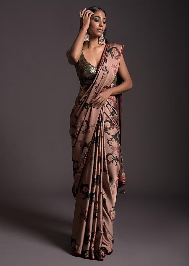 Copper Peach Saree In Satin With Floral Print And Olive Sequins Embellished Crop Top Online - Kalki Fashion