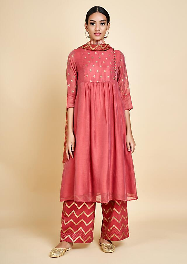 Coral A Line Suit In Cotton Silk With Foil Printed Buttis And Palazzo Pants Online - Kalki Fashion