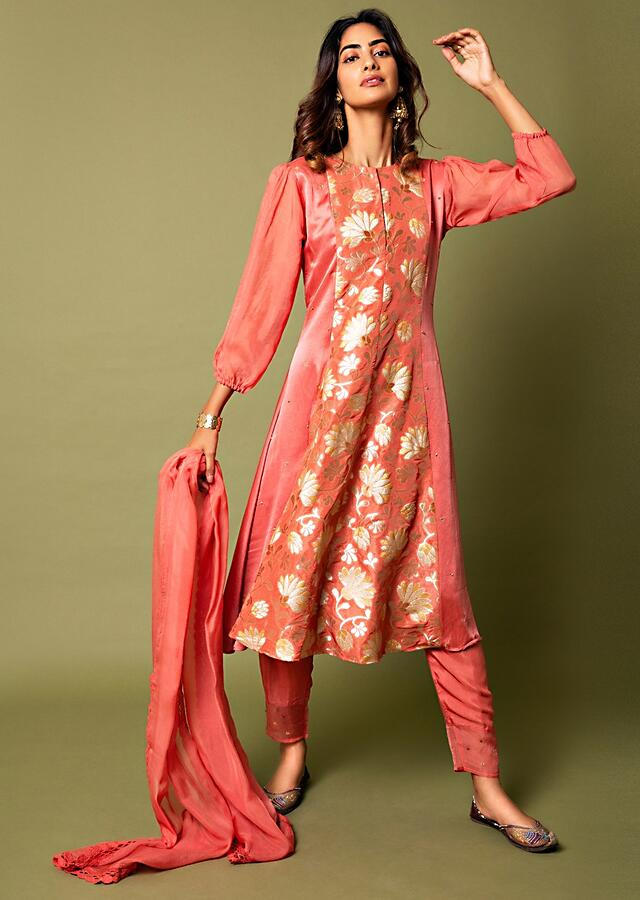 Coral A Line Suit With Floral Hand Woven Banarasi On The Centre Kali And Cheeta Embroidery Online - Kalki Fashion