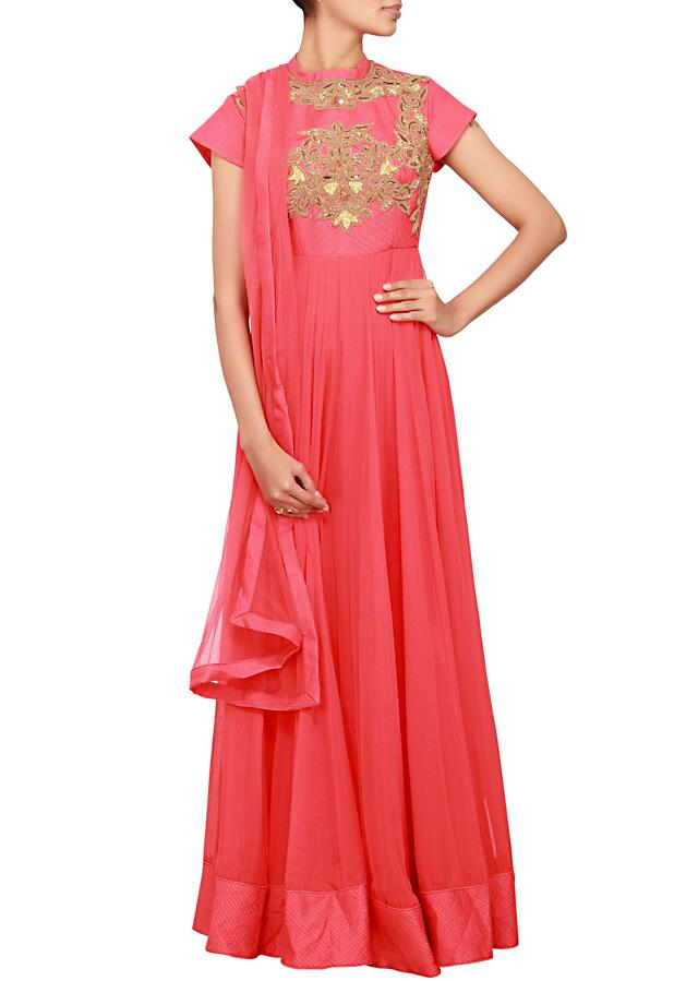 Coral anarkali in georgette embellished in zardosi embroidery only on Kalki