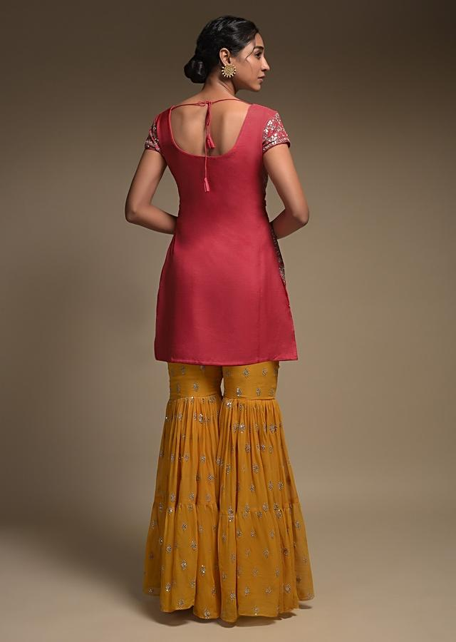 Coral And Yellow Sharara Suit With Gotta Patch And Zardozi Embroidered Jaal Pattern Online - Kalki Fashion