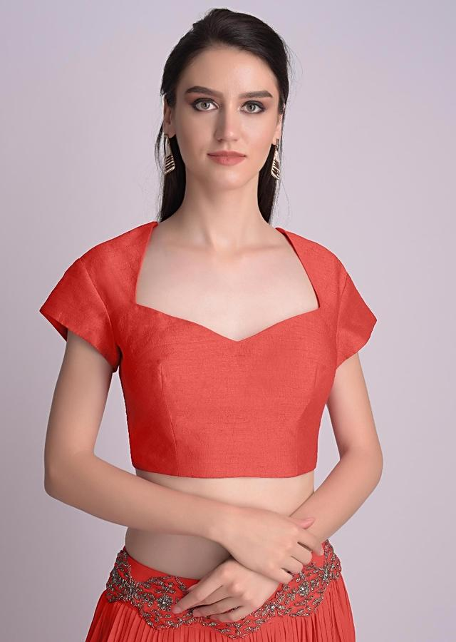 Coral Blouse With Deep Sweet Heart Neck And Cap Sleeves Online - Kalki Fashion