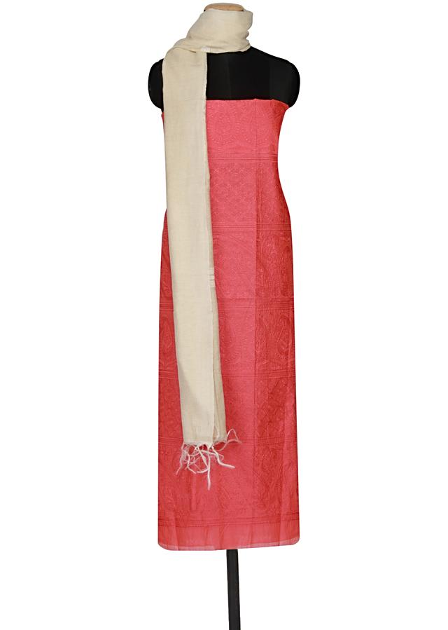 Coral chanderi silk un-stitched salwar kameez embellished in thread embroidery  only on Kalki