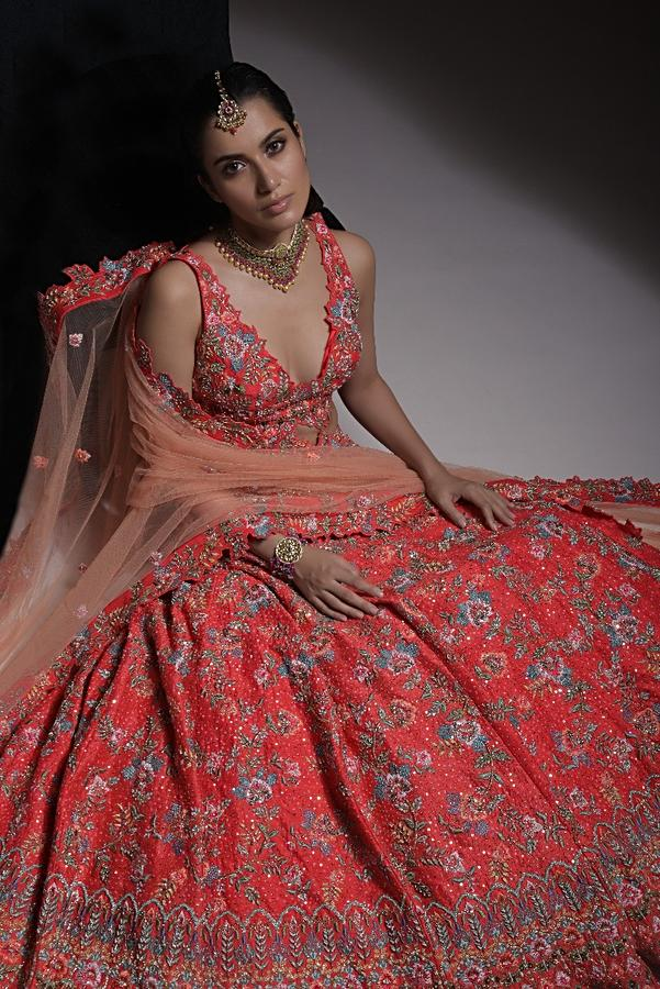 Coral Heavy Embroidered Lehenga With Resham Embroidered Floral Vines And Heritage Border Online - Kalki Fashion