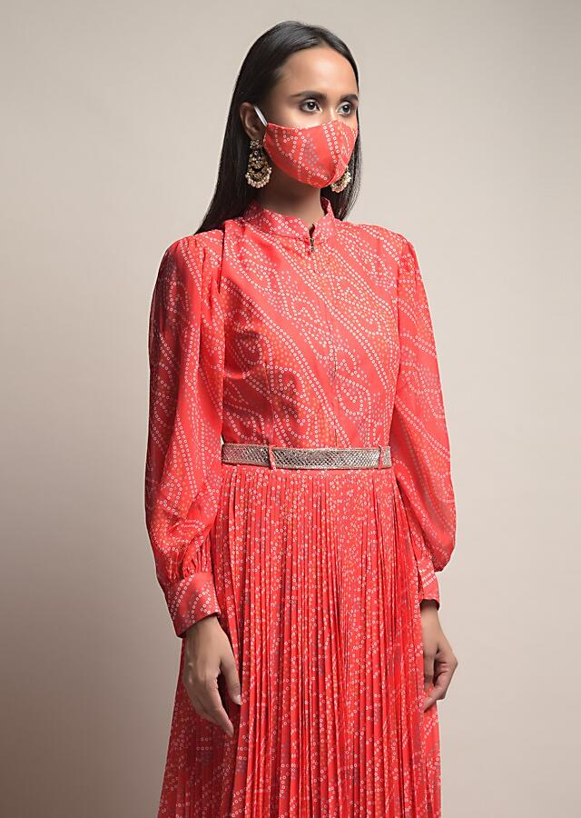 Coral Indowestern suit In Crepe With Bandhani Print All Over And Puffed Sleeve Design Online - Kalki Fashion