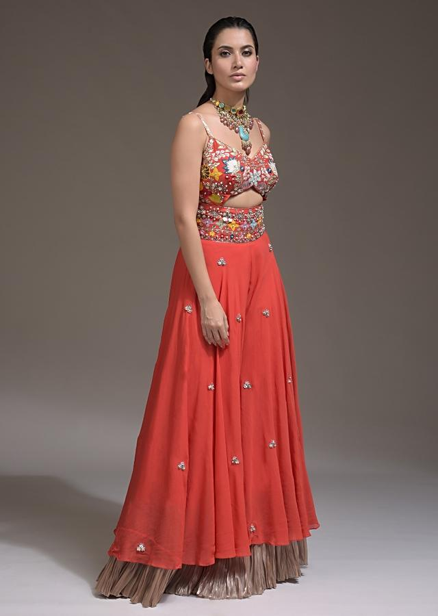 Coral Jumpsuit In Georgette With Front Cut Out And Colorful Appliqued Spring Blossoms Online - Kalki Fashion