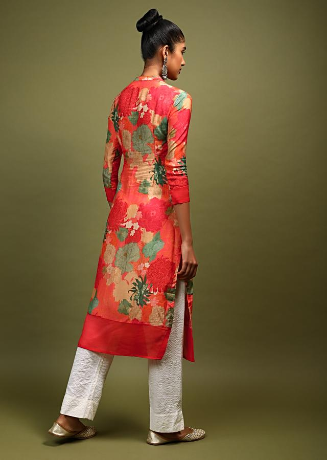 Coral Kurti In Cotton With Multi Color Printed Floral Design And Embellished With Beads And Sequins Online - Kalki Fashion