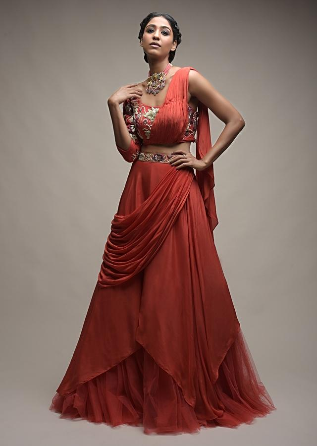 Coral Lehenga And One Shoulder Choli With Hand Embroidered Cut Dana Work And Attached Drape Online - Kalki Fashion