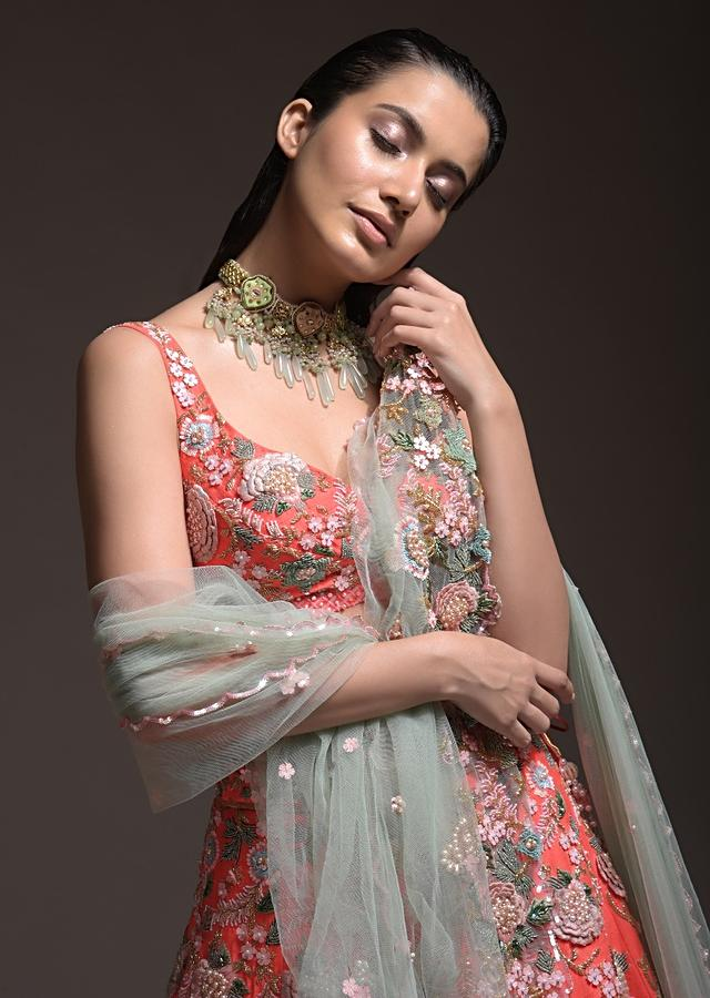 Coral Lehenga Choli With 3D Resham Flowers And Sequins Embroidered Summer Blossoms Online - Kalki Fashion