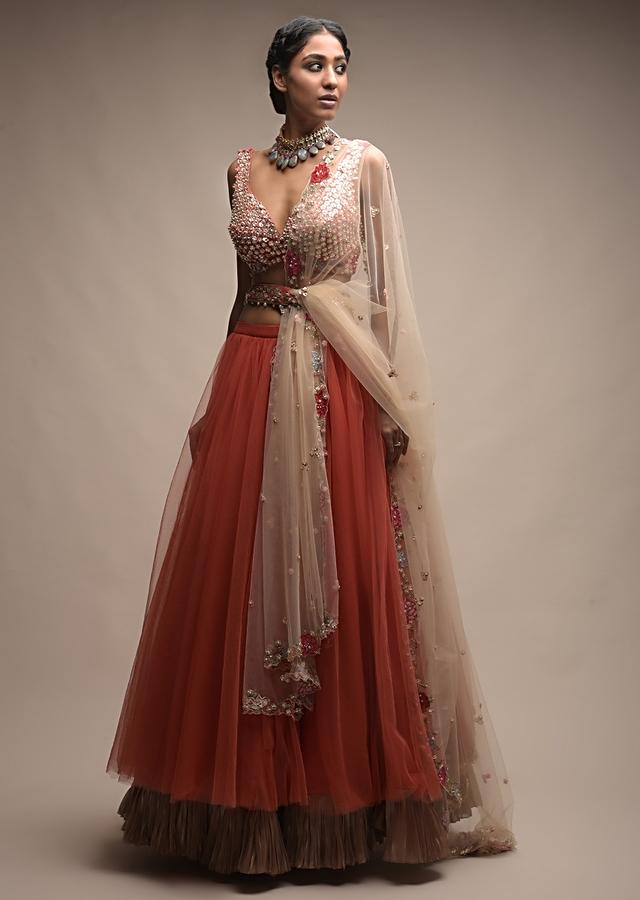 Coral Lehenga In Net With Pleated Frill And Sequins Embellished Crop Top Online - Kalki Fashion