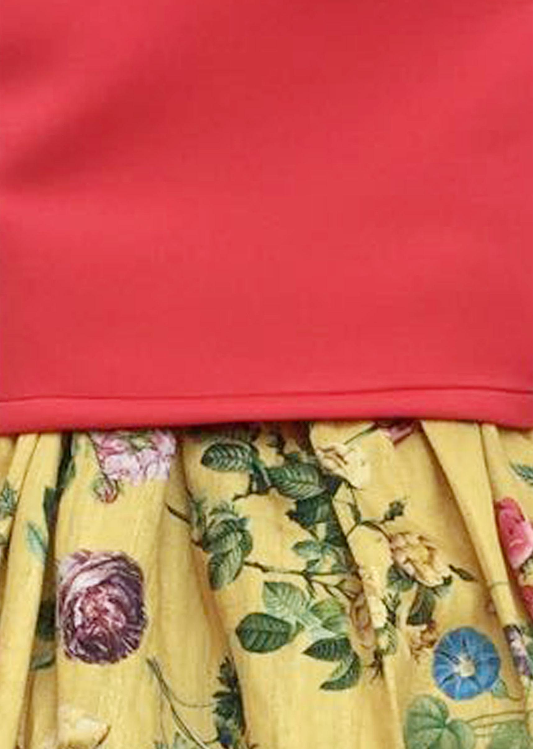 49d64cfe876 Coral Lycra Top with Yellow Printed Skirt by Fayon Kids
