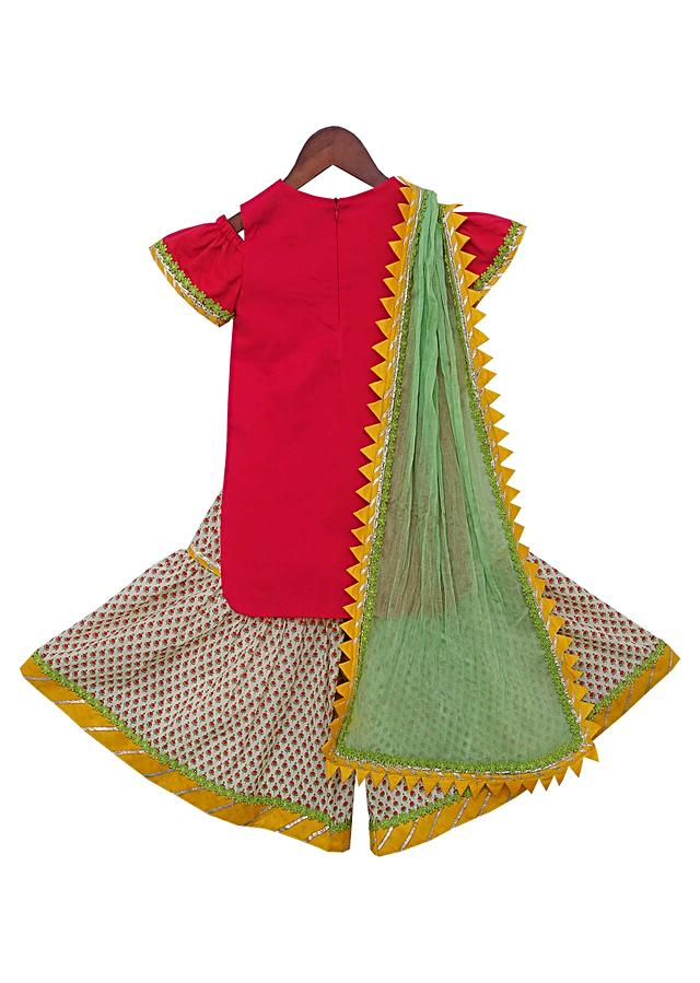 Coral Kurti With Mirror Work And Printed Sharara by Fayon Kids