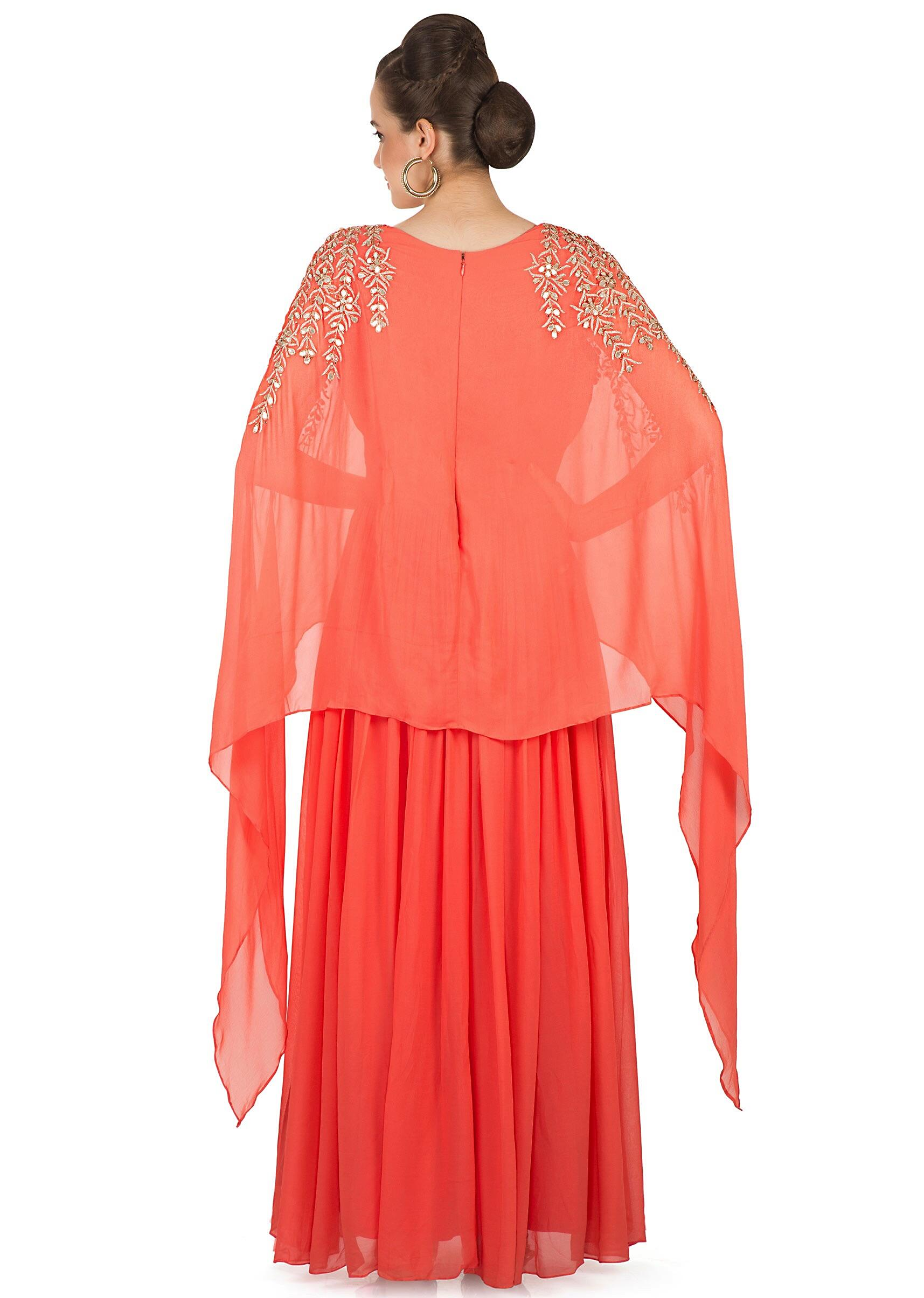 8bc3dfd193 Coral Orange Georgette Gown Styled with a Zari Cape