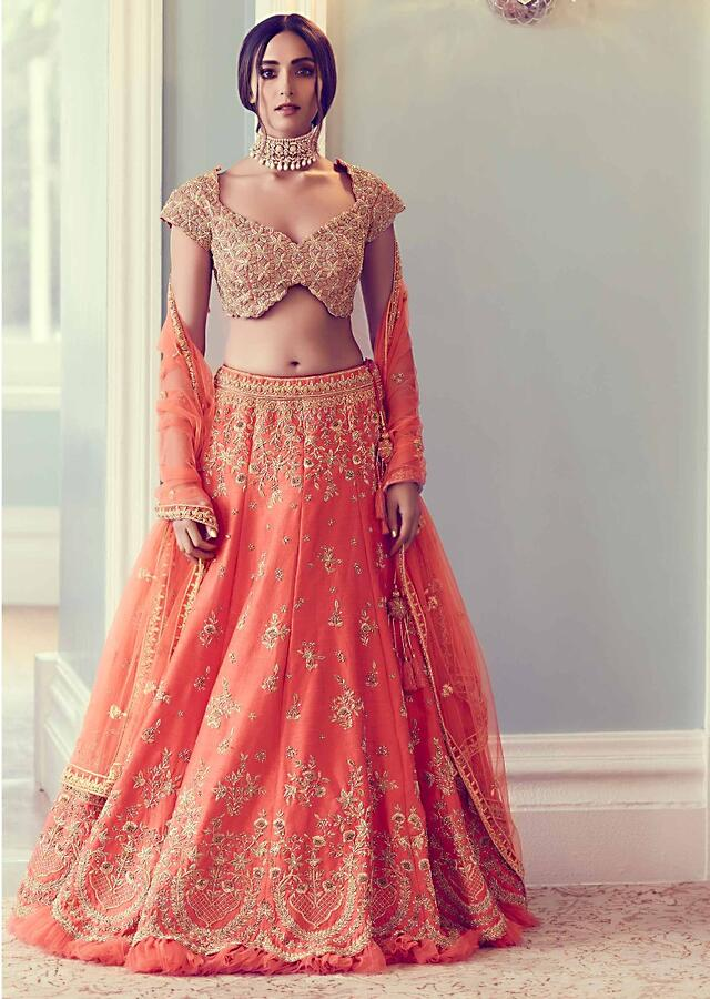 Coral Orange Lehenga Choli In Raw Silk With Hand Embroidered Floral Pattern Online - Kalki Fashion