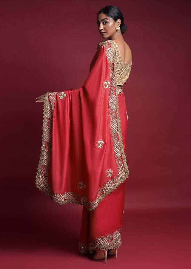 Coral Orange Saree In Cotton Silk With Embroidered Floral Buttis Online - Kalki Fashion
