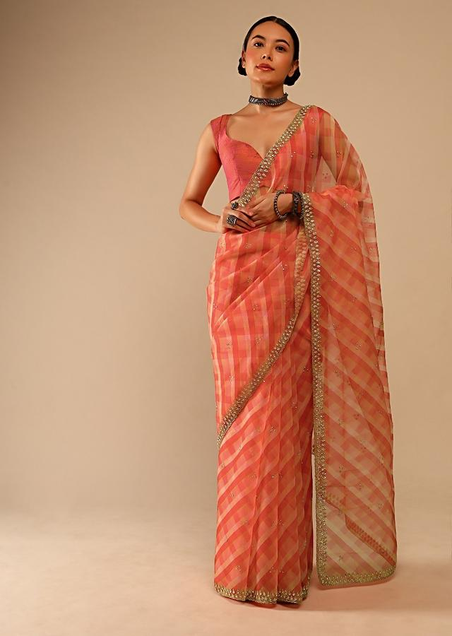 Coral Orange Saree In Organza With Lehariya Print And Hand Embroidered Border With Beads And Sequins Work Online - Kalki Fashion