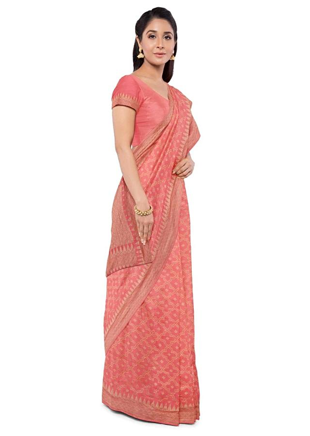 Coral Peach Banarasi Saree In Georgette With Matching Blouse Piece Online - Kalki Fashion