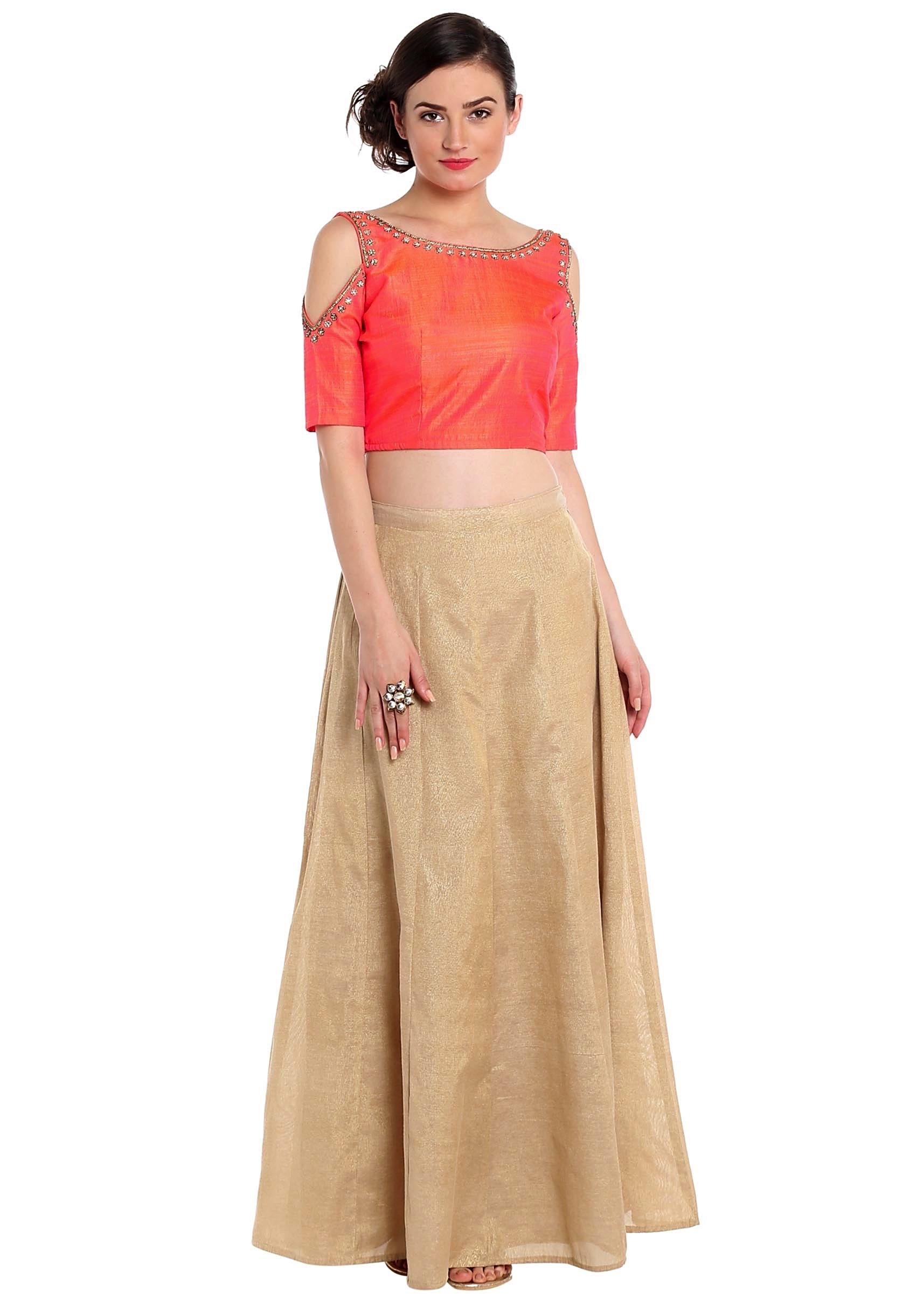 0c8c63795d66 Coral peach crop top blouse in cold shoulder with gold skirt only on  KalkiMore Detail