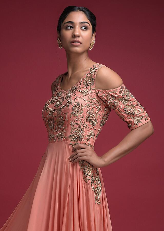 Coral Peach Indowestern A Line Gown In Georgette With Cold Shoulder Sleeves Online - Kalki Fashion