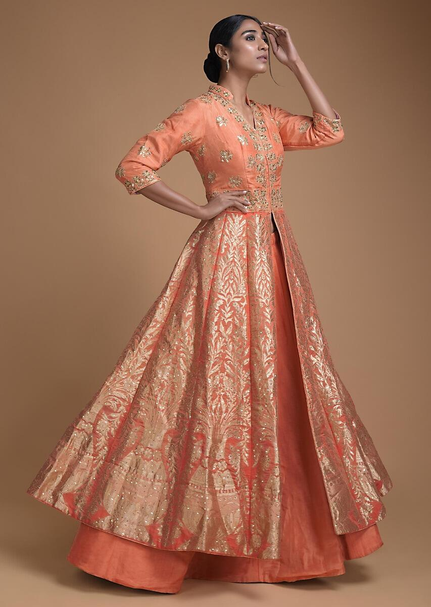 Buy Coral Peach Jacket Lehenga In Brocade Silk With Floral And Flower Pot  Motifs Online - Kalki Fashion