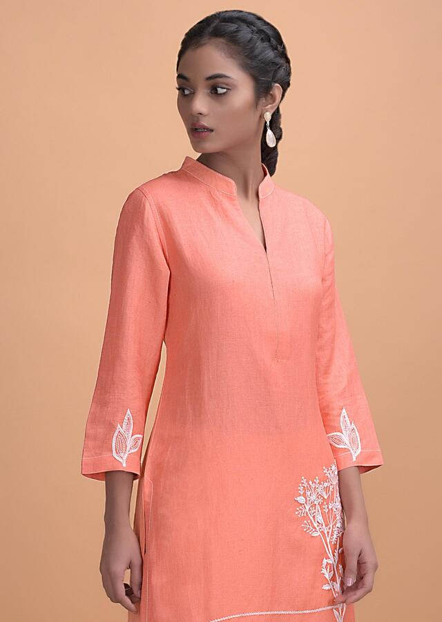 Coral Peach Palazzo Suit In Jute Cotton With Floral Printed Dupatta Online - Kalki Fashion