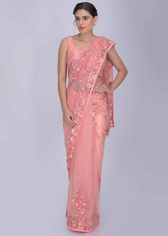 Coral Peach Saree In Net With Matching Blouse Piece Online - Kalki Fashion