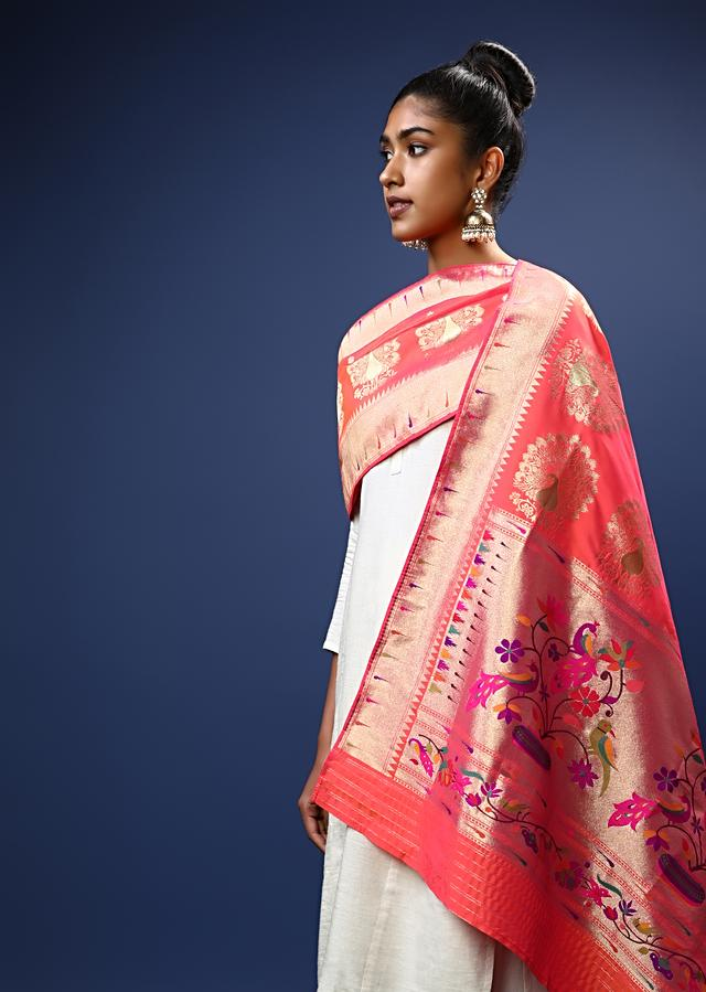Coral Pink Dupatta In Brocade Silk With Multi Colored Bird Design On The Border And Golden Peacock Motifs Online - Kalki Fashion