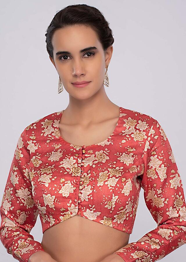 Coral Pink Blouse In Raw Silk With Floral Print Online - Kalki Fashion
