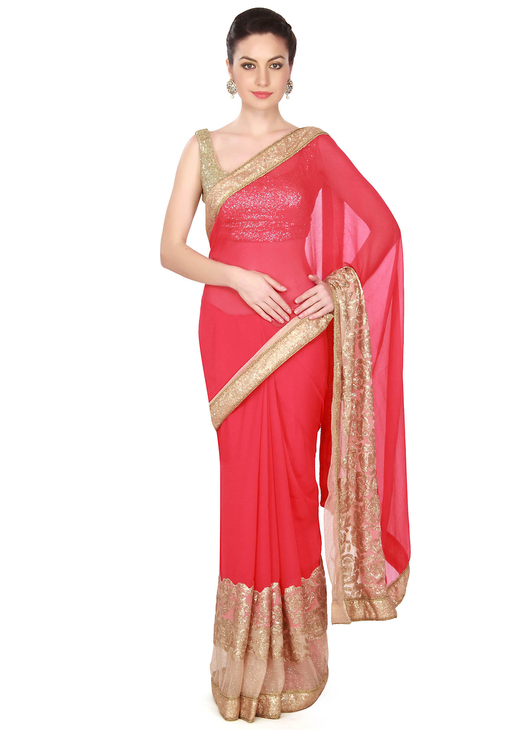 beb61fadbce4dd Coral pink saree features with sequin border only on KalkiMore Detail
