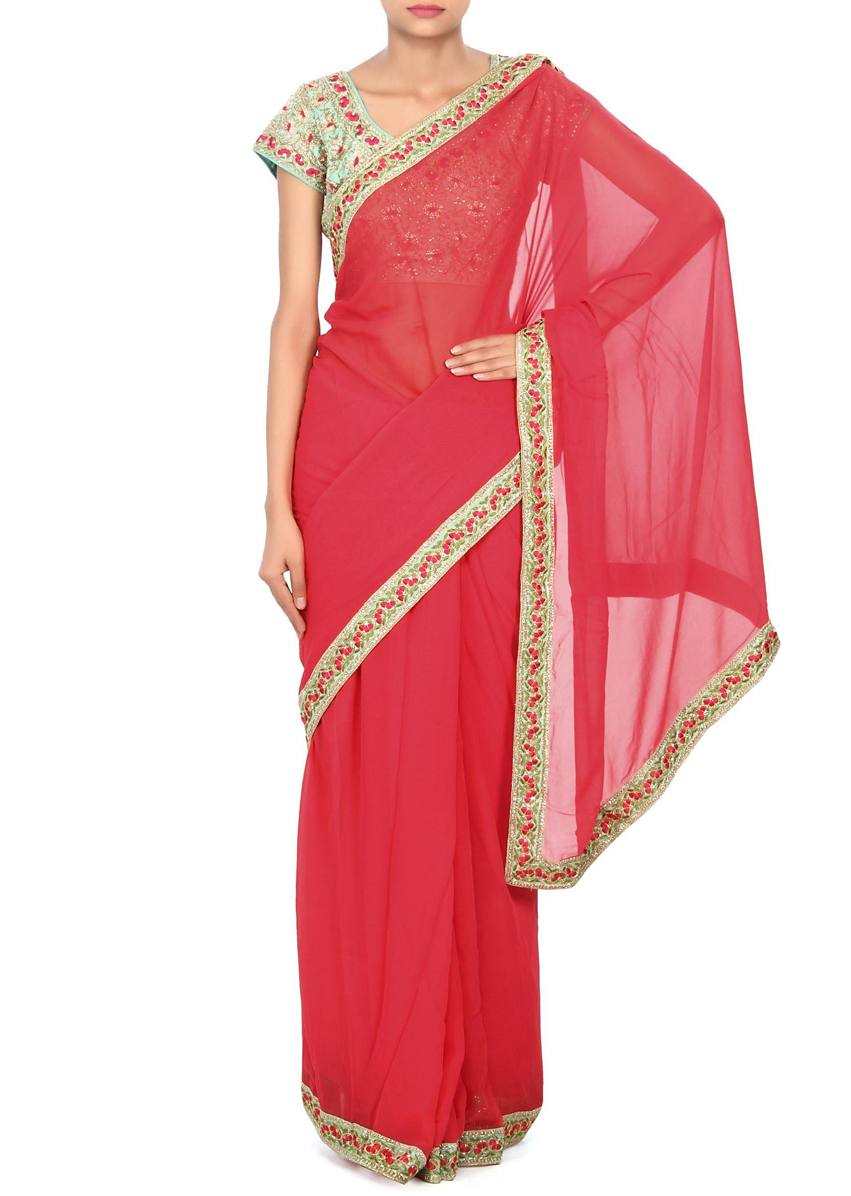 fb7e61497da4d7 Coral pink saree matched with embroidered blouse only on KalkiMore Detail