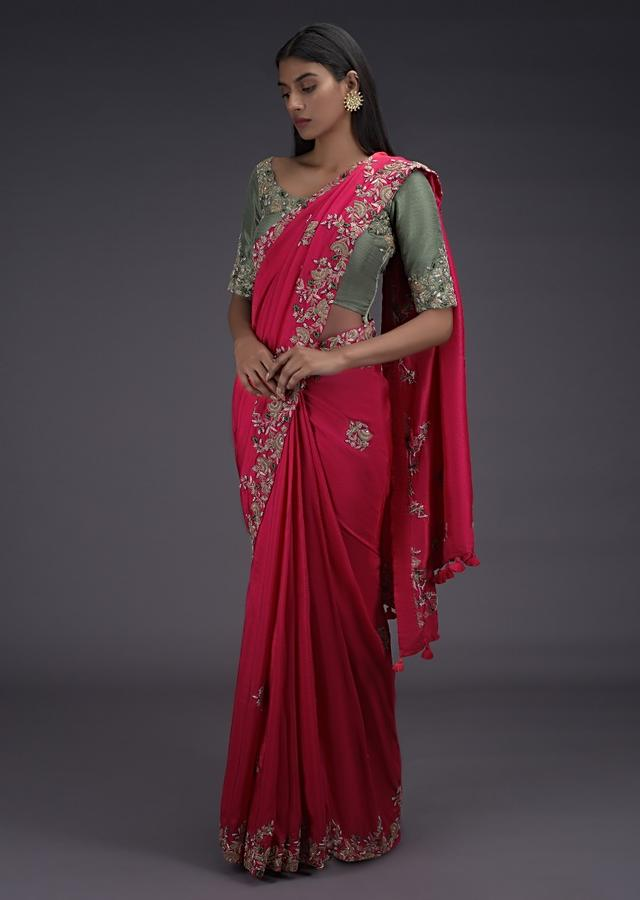 Coral Pink Saree With Zardozi Embroidered Buttis And Contrasting Sage Green Blouse Online - Kalki Fashion