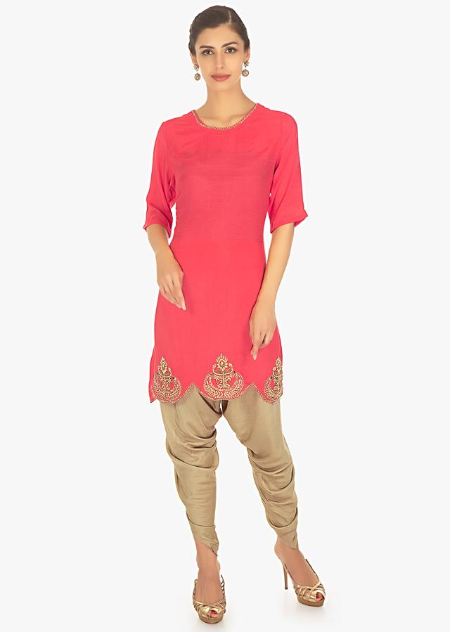 Coral Pink Top In Silk Paired With Brown Cotton Dhoti Pants Online - Kalki Fashion
