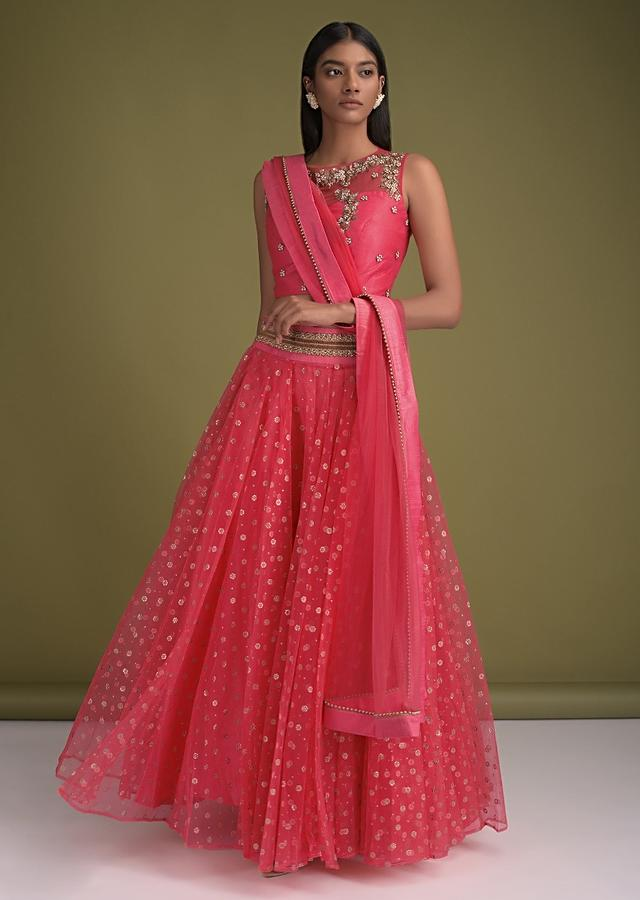 Coral Pink Skirt In Net With Foil Printed Floral Buttis And Embroidered Crop Top Online - Kalki Fashion