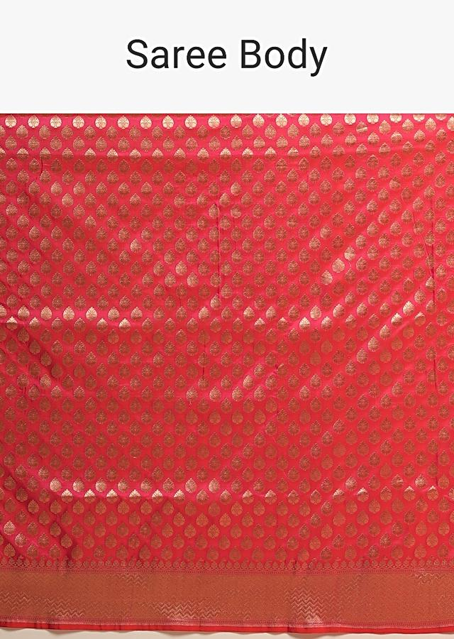 Coral Pink Two Toned Banarasi Saree In Pure Handloom Silk With Woven Floral Buttis And Chevron Border Along With Unstitched Blouse Piece Online - Kalki Fashion