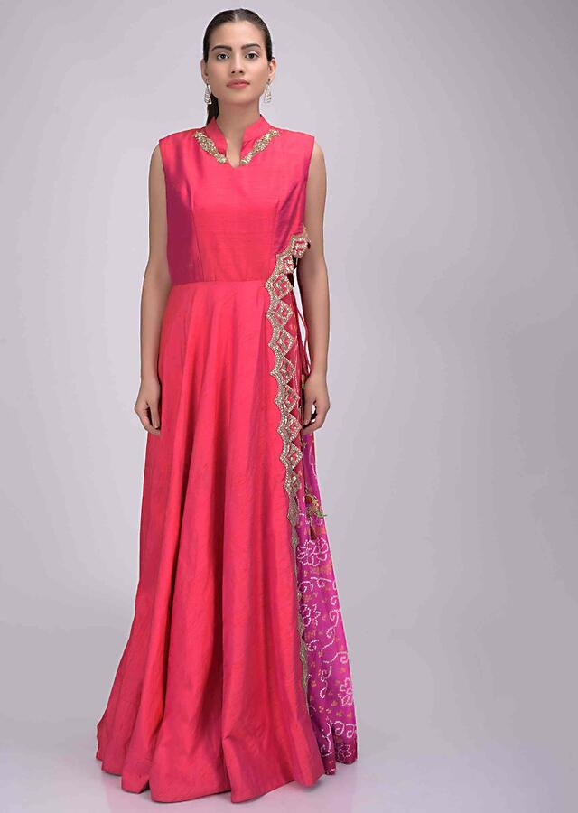 Coral Pink Dress In Two Toned Raw Silk With Bandhej Chiffon Inner Online - Kalki Fashion