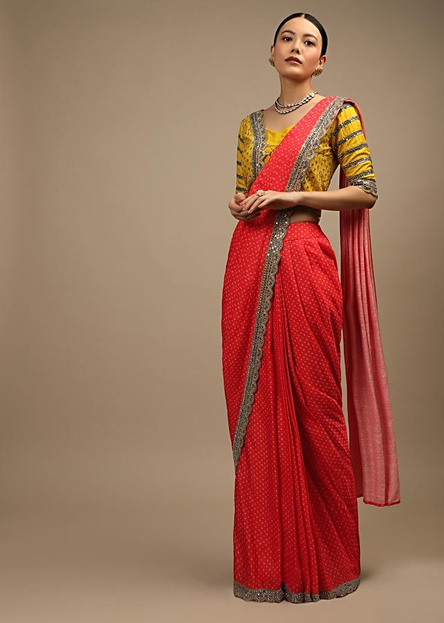 Coral Ready Pleated Saree In Satin With Bandhani Print And Mustard Choli Enhanced With Mirror Work Online - Kalki Fashion