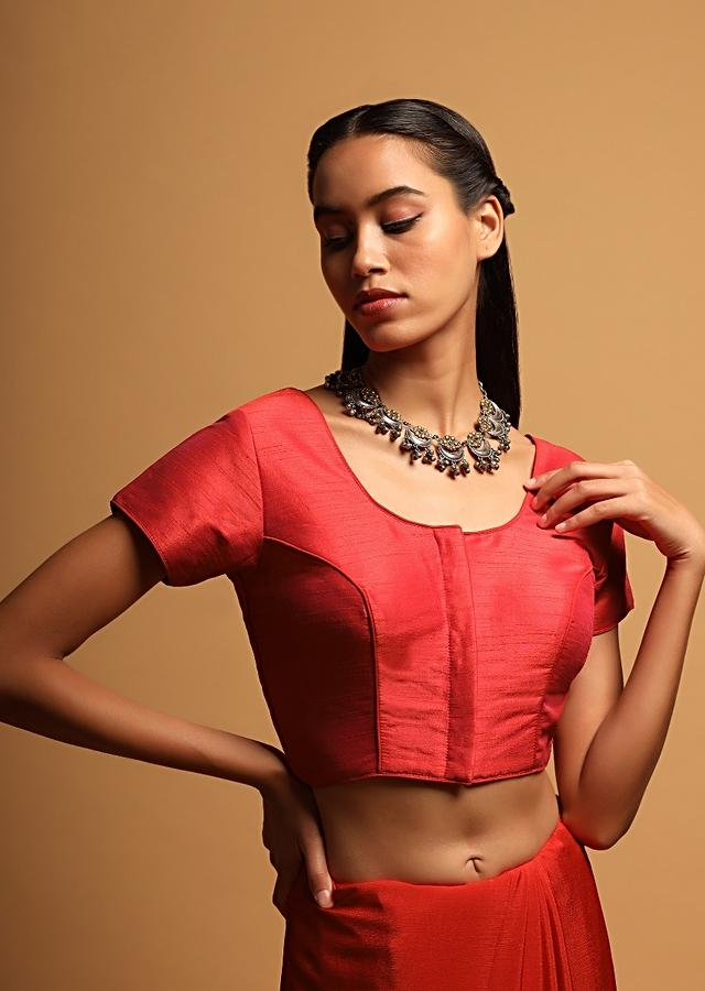 Coral Red Blouse In Raw Silk With Cap Sleeves And Front Hook Closure Online - Kalki Fashion