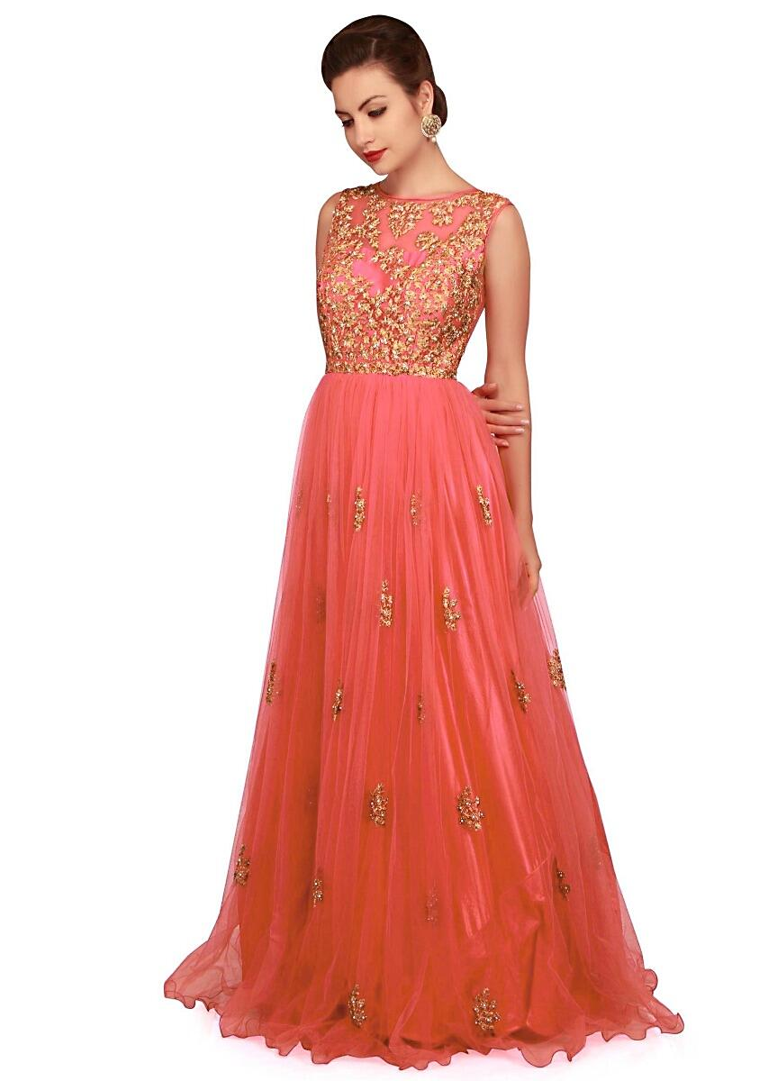 a7261e8f31 Deep coral gown with zari embroidered bodice only on Kalki