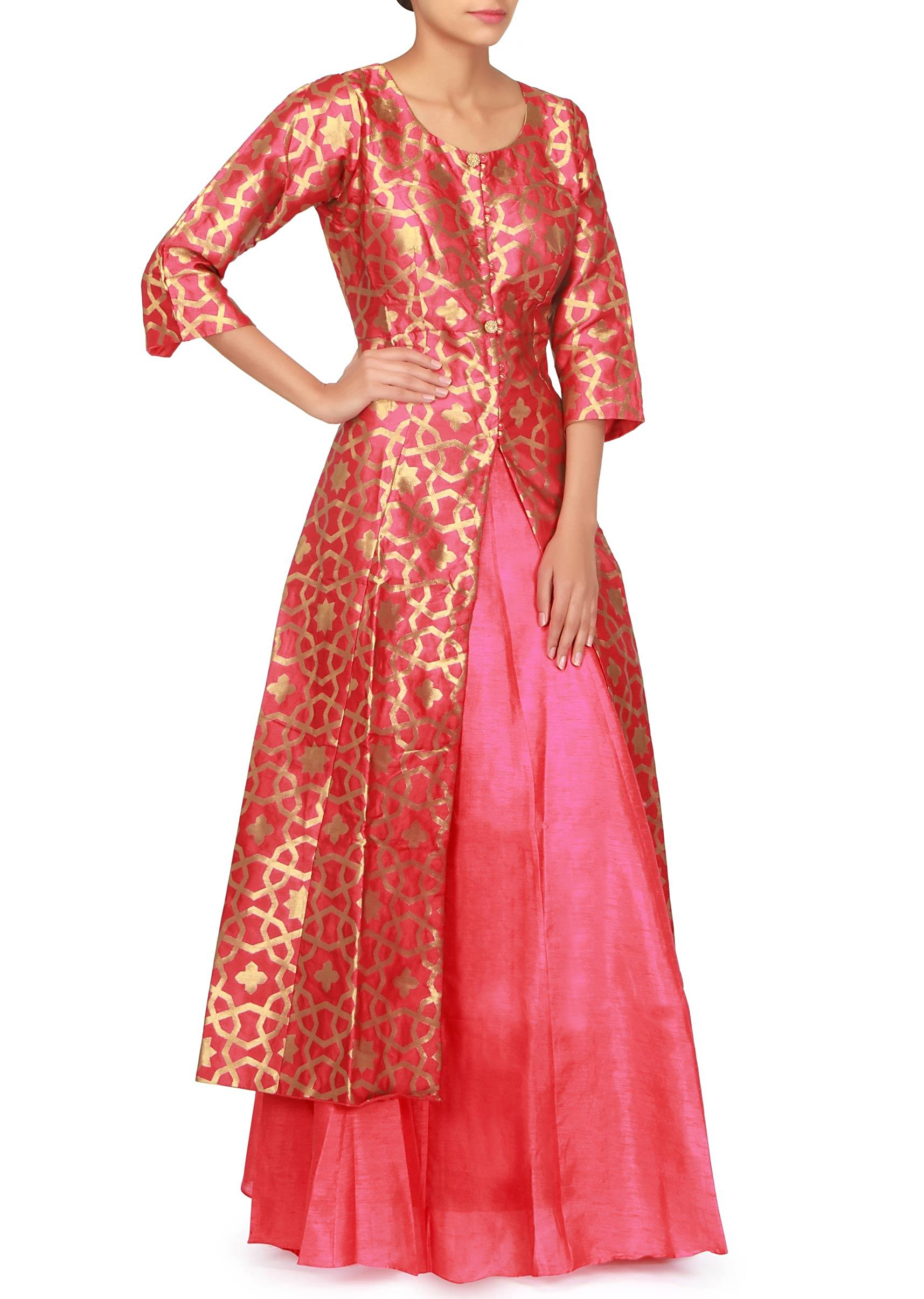 650f29f21b0952 Coral red long top with raw silk lehenga only on KalkiMore Detail