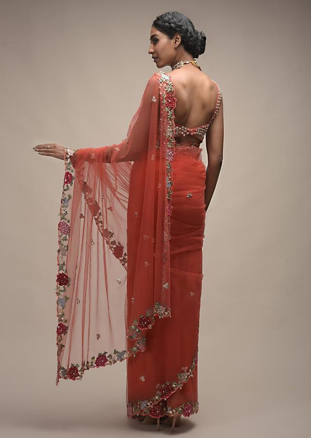 Coral Saree In Net With Resham Embroidered Flowers On The Border And Sequin Buttis Online - Kalki Fashion