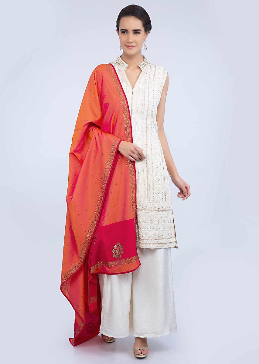 Coral Dupatta In Silk With Contrasting Fuchsia Pink Border Online