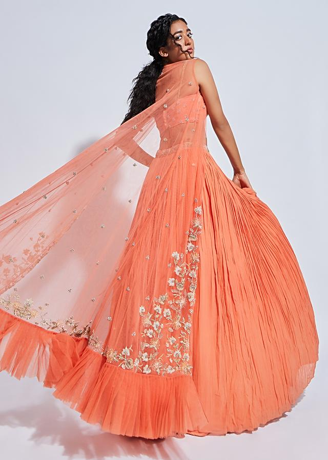 Coral Skirt And Crop Top Set With Floral Embroidered Jacket Having A Frill On The Hem Online - Kalki Fashion