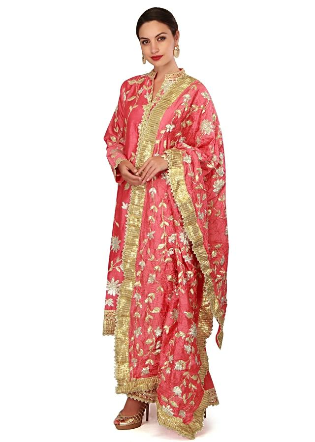 Coral suit in gotta lace with palazzo pant only on Kalki