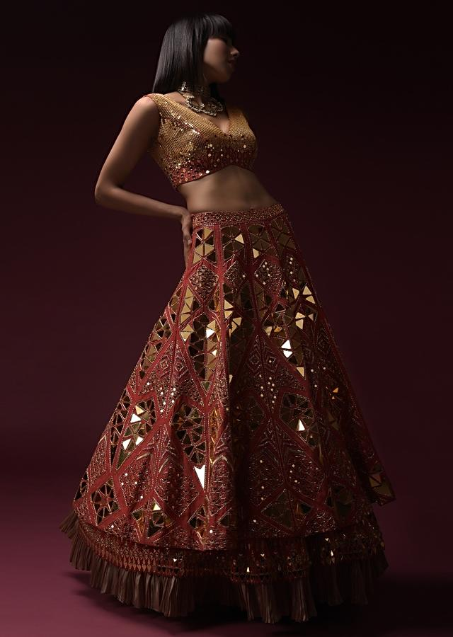 Coral Lehenga Choli In Raw Silk With A Mosaic Of Geometric Cut Mirror Embroidery All Over Online - Kalki Fashion