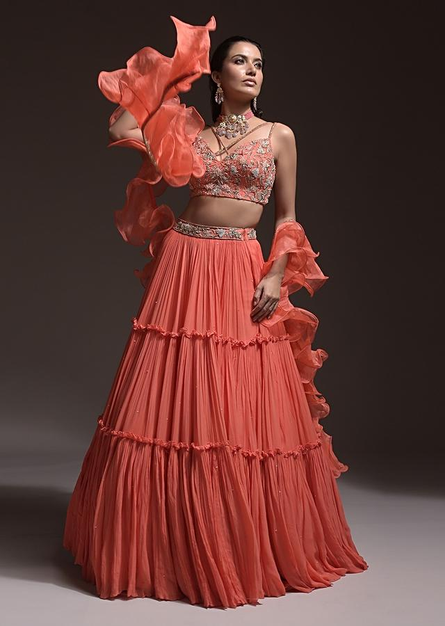 Coral Tiered Skirt And Crop Top With Cutdana Embellished Floral Blossoms And Ruffle Dupatta