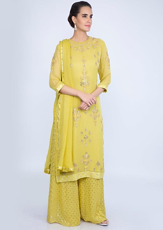 Corn Green Georgette Suit With Floral Embroidery And Weaved Palazzo And Chiffon Dupatta Online - Kalki Fashion