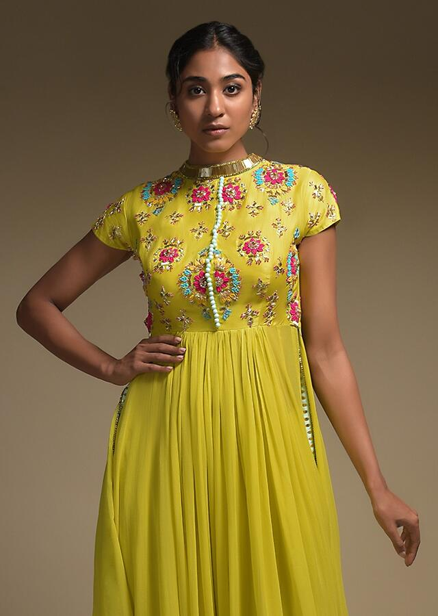 Corn Yellow A Line Suit In Georgette With Applique And Beads Embroidered 3D Floral Pattern Online - Kalki Fashion